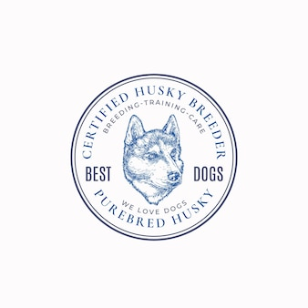 Insigne de cadre d'éleveur de chien local ou modèle de logo croquis de visage de race husky dessiné à la main