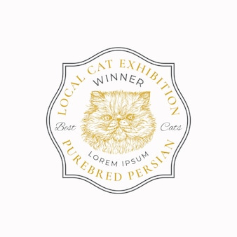 Insigne de cadre d'exposition de chat local ou modèle de logo croquis de visage de race persane dessiné à la main