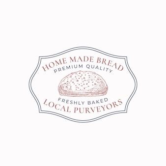 Insigne de cadre de pain fait maison ou modèle de logo. croquis de pain dessiné à la main avec typographie rétro et bordures. emblème premium vintage. isolé.