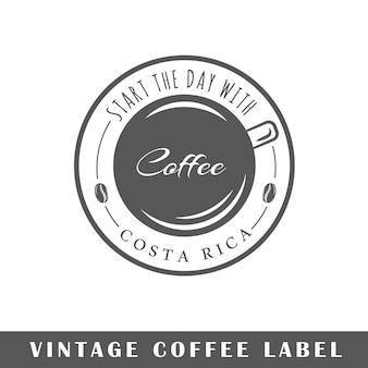 Insigne de café isolé sur fond blanc