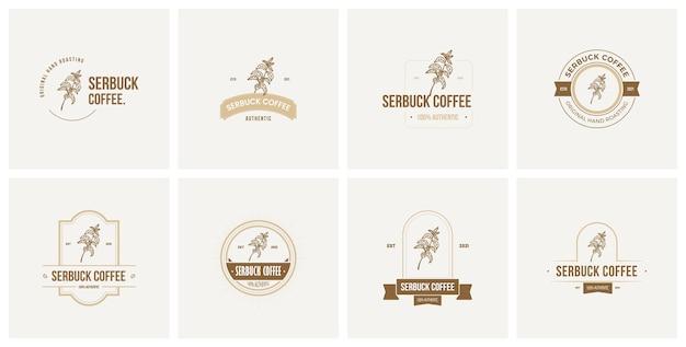Insigne de café mis en logo vectoriel premium