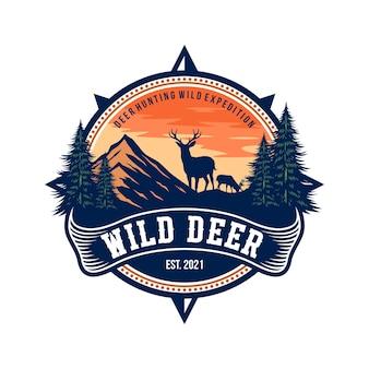 Insigne de cerf sauvage et modèle de vecteur de conception de logo