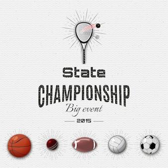 Insigne de championnat d'état et étiquettes sport
