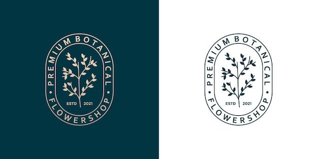 Insigne de conception de logo botanique de beauté style rétro pour fleuriste, fleuriste, magasin de plantes