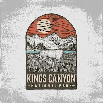 Insigne dessiné à la main du parc national des rois canyon