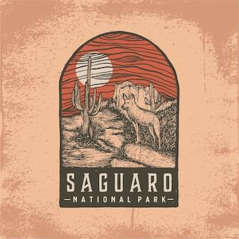 Insigne dessiné à la main du parc national de saguaro
