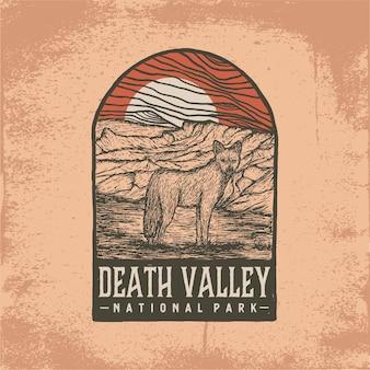 Insigne dessiné à la main du parc national de la vallée de la mort