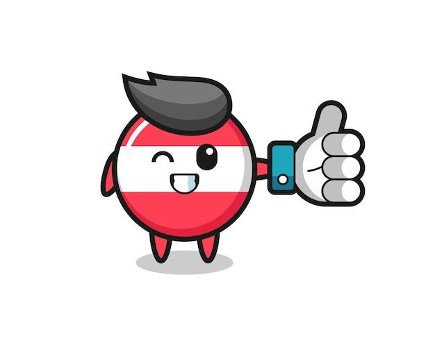 Insigne de drapeau autrichien mignon avec symbole de pouce levé sur les médias sociaux, design de style mignon pour t-shirt, autocollant, élément de logo