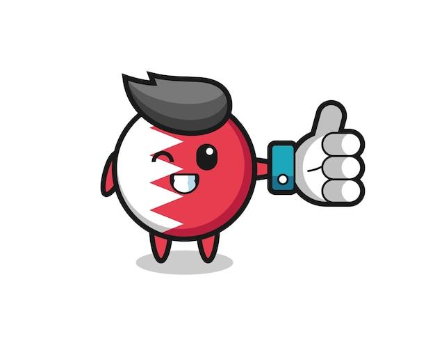 Insigne de drapeau de bahreïn mignon avec symbole de pouce levé sur les médias sociaux, design de style mignon pour t-shirt, autocollant, élément de logo