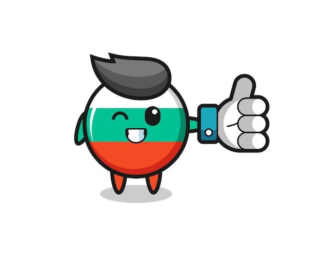 Insigne de drapeau de la bulgarie mignon avec symbole de pouce levé des médias sociaux, design de style mignon pour t-shirt, autocollant, élément de logo