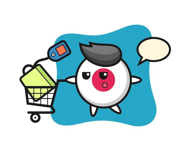 Insigne de drapeau du japon, design de style mignon pour t-shirt, autocollant, élément de logo
