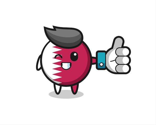 Insigne de drapeau du qatar mignon avec symbole de pouce levé des médias sociaux, design de style mignon pour t-shirt, autocollant, élément de logo
