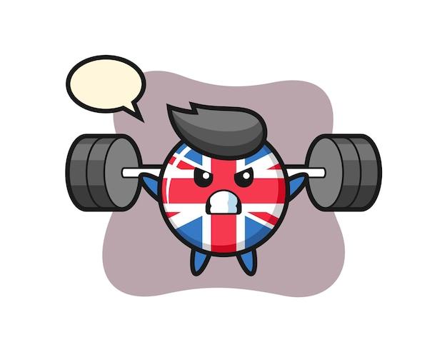 Insigne de drapeau du royaume-uni, design de style mignon pour t-shirt, autocollant, élément de logo