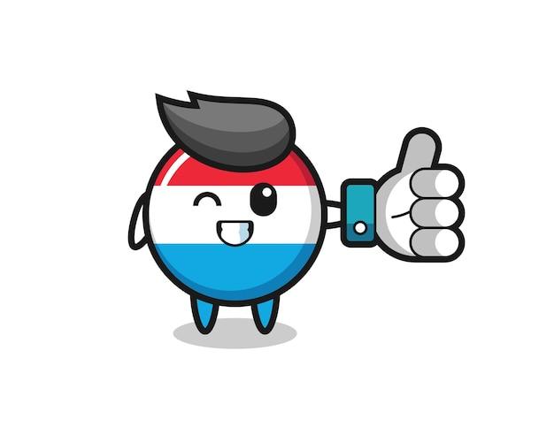 Insigne de drapeau luxembourgeois mignon avec symbole de pouce levé sur les médias sociaux, design de style mignon pour t-shirt, autocollant, élément de logo