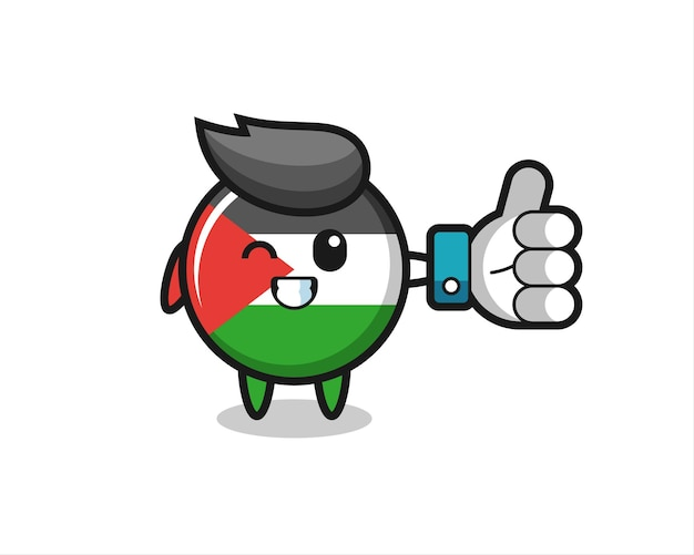 Insigne de drapeau de la palestine mignon avec symbole de pouce levé des médias sociaux, design de style mignon pour t-shirt, autocollant, élément de logo