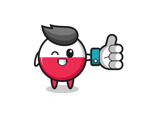 Insigne de drapeau pologne mignon avec symbole de pouce levé sur les médias sociaux, design de style mignon pour t-shirt, autocollant, élément de logo