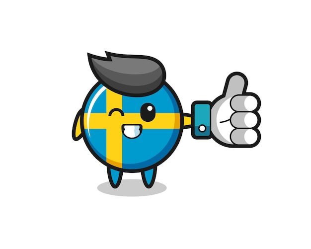 Insigne de drapeau suédois mignon avec symbole de pouce levé sur les médias sociaux, design de style mignon pour t-shirt, autocollant, élément de logo