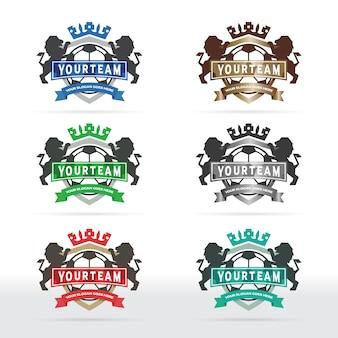 Insigne du club de football avec les lions et le symbole de la couronne, badge du club de football