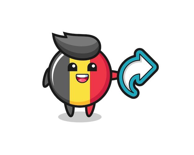 L'insigne du drapeau belge mignon contient le symbole de partage des médias sociaux, un design de style mignon pour un t-shirt, un autocollant, un élément de logo
