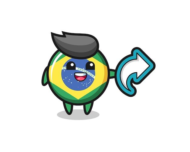 L'insigne du drapeau brésilien mignon contient le symbole de partage des médias sociaux, un design de style mignon pour un t-shirt, un autocollant, un élément de logo