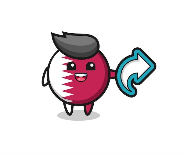 L'insigne du drapeau du qatar mignon contient le symbole de partage des médias sociaux, un design de style mignon pour un t-shirt, un autocollant, un élément de logo