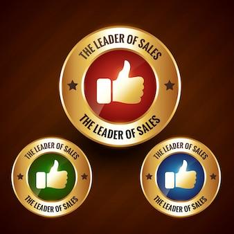 Insigne du leader des ventes avec étiquette dorée avec jeu de trois couleurs différentes