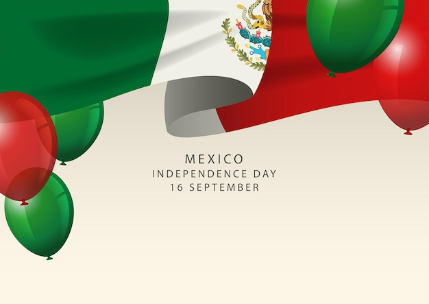 Insigne du mexique avec des ballons décoratifs, carte de voeux de joyeux jour de l'indépendance du mexique