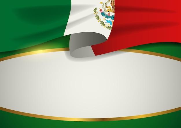 Insigne du mexique avec cadre doré décoratif, format vectoriel eps 10
