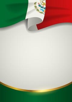 Insigne du mexique avec ligne dorée décorative, format vectoriel eps 10