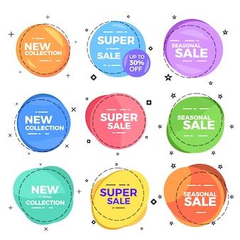 Insigne d'élément web de cercle de vente de texte