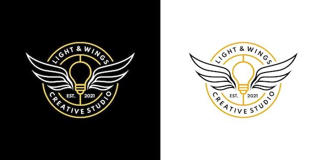 Insigne emblème aile légère logo monoline lumière ange logo design concept