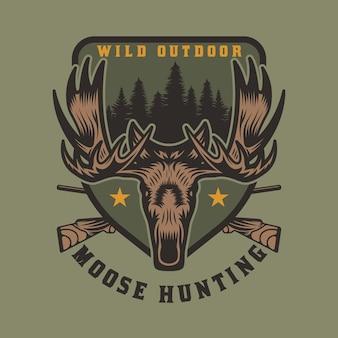 Insigne d'emblème de chasse et d'aventure à l'orignal sauvage vintage
