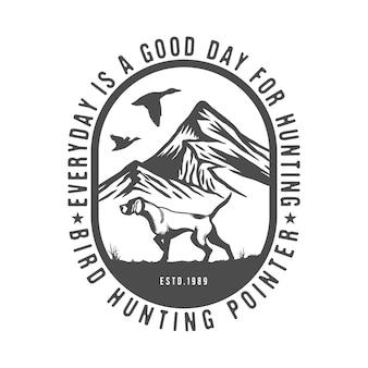 Insigne d'emblème de chien d'oiseau de pointeur anglais de chien de chasse