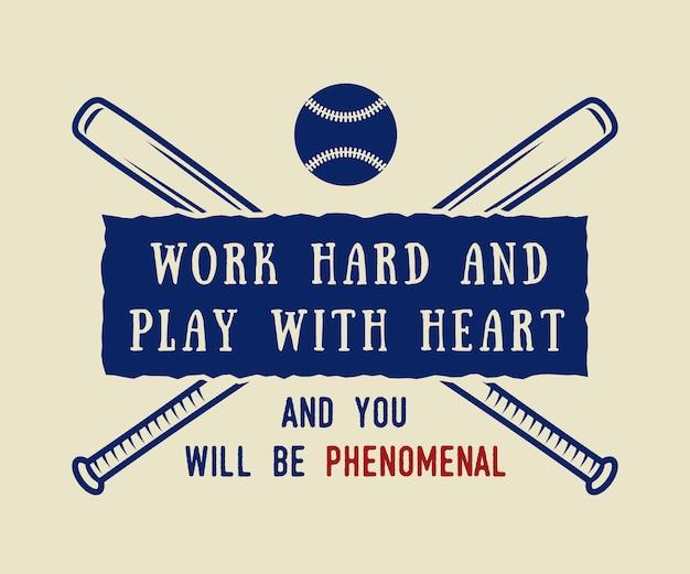Insigne d'emblème de logo de baseball vintage avec slogan et motivation