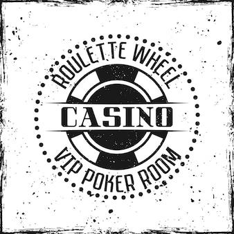 Insigne ou emblème rond de casino sur l'illustration de fond texturé