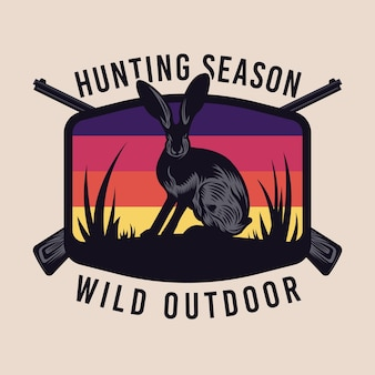 Insigne d'emblème sauvage de chasse au lapin