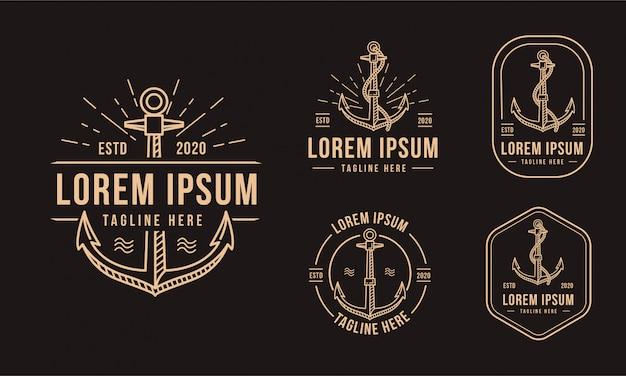 Insigne emblème vintage icône du logo nautique ancre sur fond noir