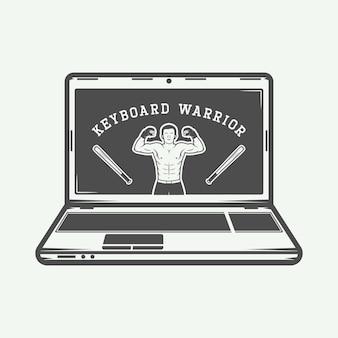 Insigne ou étiquette d'emblème de logo d'ordinateur portable de cru avec l'illustration de vecteur de slogan d'amusement