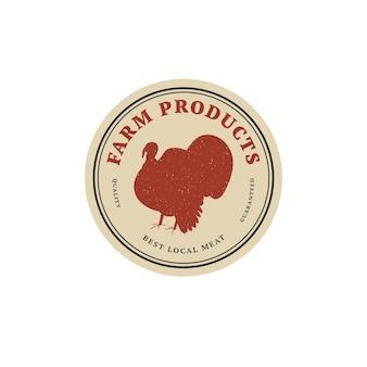Insigne ou étiquette de modèle linéaire de conception vectorielle - dinde de ferme. symbole abstrait pour les produits carnés ou la boucherie.