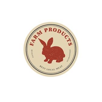 Insigne ou étiquette de modèle linéaire de conception vectorielle - lapin de ferme. symbole abstrait pour les produits carnés ou la boucherie.