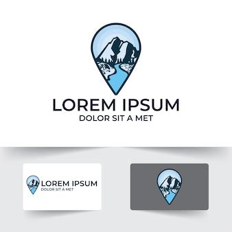 Insigne extérieur avec modèle de conception d'illustration de forme de broche de carte isolé sur fond blanc