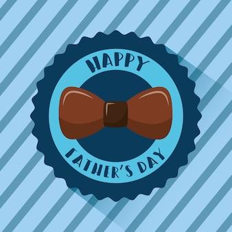Insigne de fête des pères heureux arc brun rayé fond bleu