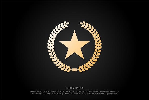 Insigne de feuille de laurier d'étoile pour le vecteur de conception de logo d'emblème d'armée militaire