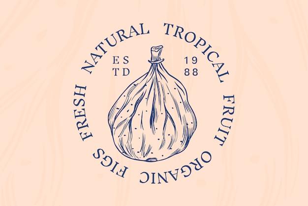 Insigne de figue fraîche. étiquette ou logo de feuillage de fruits secs. épice détox.