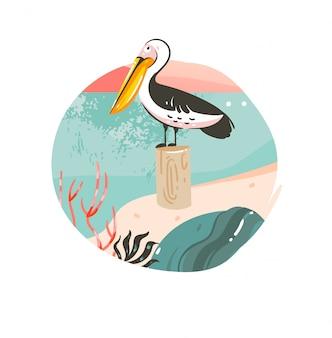 Insigne de fond de modèle d'illustrations graphiques d'heure d'été de dessin animé abstrait dessiné à la main avec paysage de plage de l'océan, coucher de soleil rose et oiseau pélican de beauté avec espace de copie pour votre texte