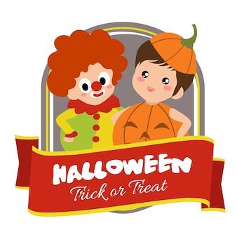 Insigne d'halloween avec des enfants en costume de clown