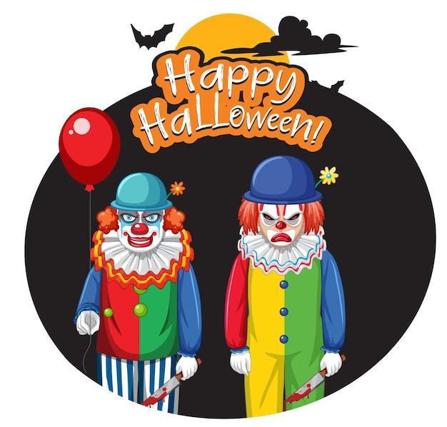 Insigne d'halloween heureux avec deux clowns effrayants