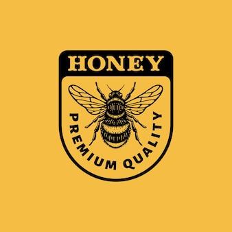 Insigne de logo d'abeilles d'insectes dans l'illustration vintage de doodle