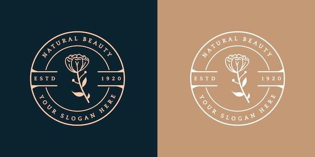 Insigne de logo beauté féminin et floral dessiné à la main