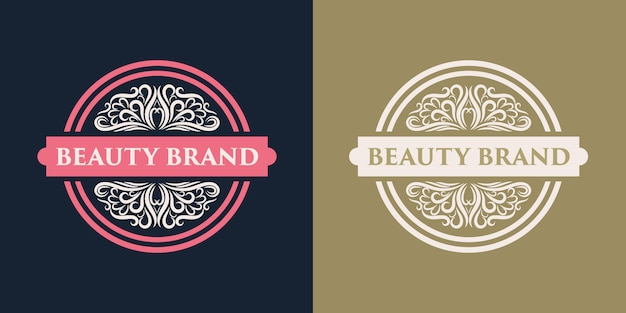 Insigne de logo féminin et floral dessiné à la main rose adapté aux cheveux et à la beauté de la peau du salon de spa